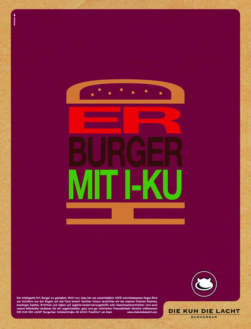 """Anzeige In Stadtmagazinen Für Das Burger-Restaurant """"Die Kuh Die Lacht"""""""